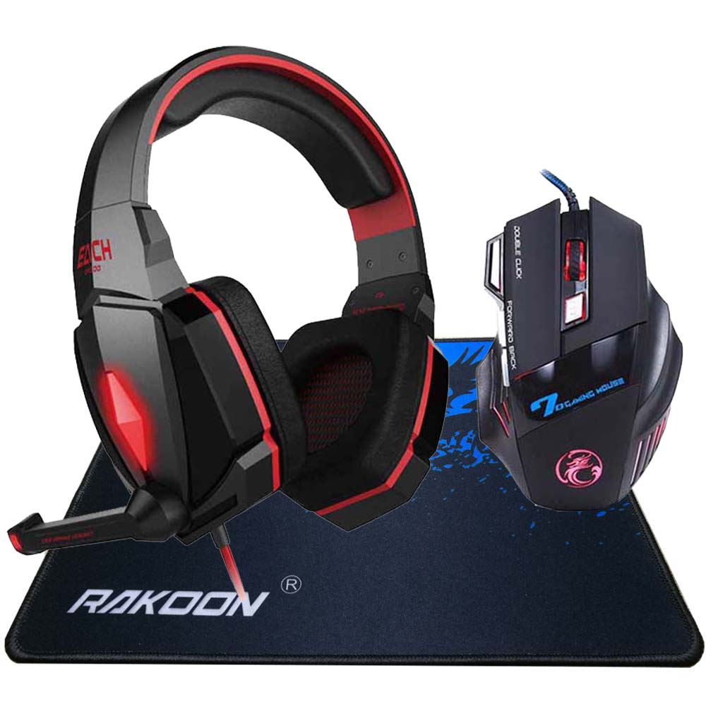 EACH Stereo Deep Bass LED Light Pro Gaming Headphone Headset Headband+7 Buttons Pro Game Mice Gaming Mouse+Gaming Mousepad Gift