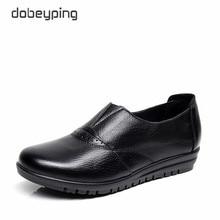 Yüksek kalite hakiki deri gündelik kadın ayakkabısı kaymaz Flats ayakkabı kadın yumuşak anne loaferlar bağcıksız ayakkabı büyük boy 35 43