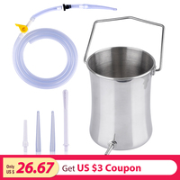 2L Enema Anal Bucket Set Anal Vagina Cleaner Washing Enema Kit Stainless Steel Bucket and Silicone Cleansing Tubes Home