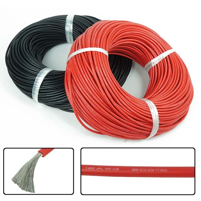 5 meter Red+5 meter Black Color Silicon Wire 10AWG 12AWG 14AWG 16AWG 18awg Heatproof Soft Silicone Silica Gel Wire Connect Cable