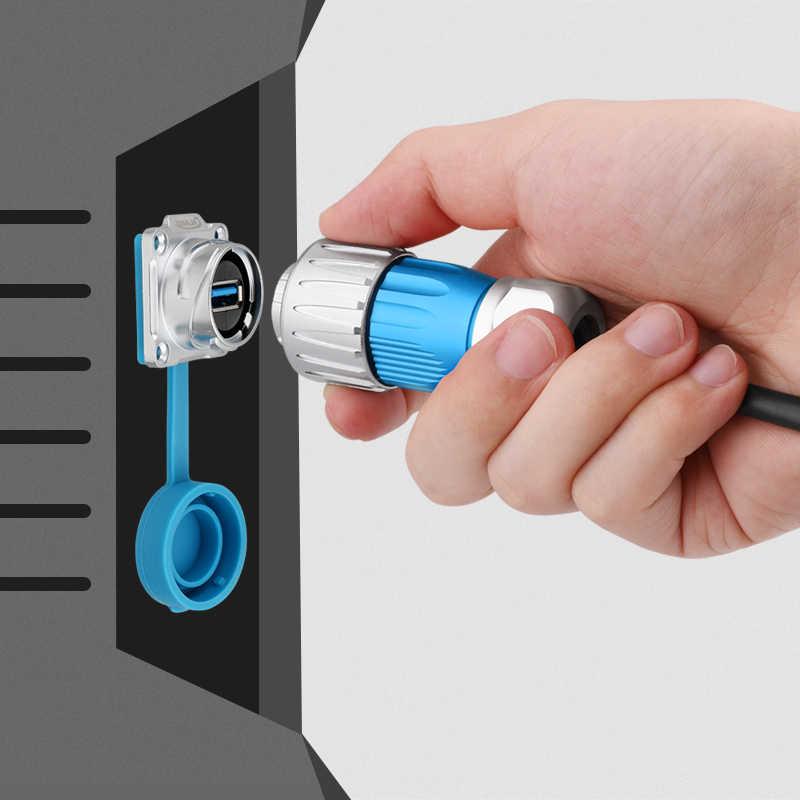 Factory IP67 USB3.0 Metal Shielded Plug Mount Socket  Waterproof Cover Electrical Waterproof Car Audio Vertical USB Connector