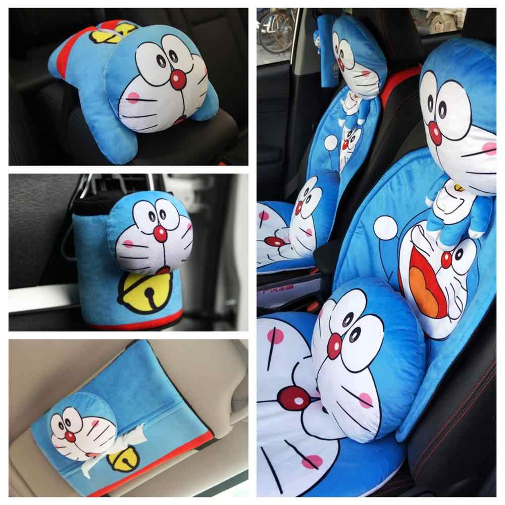 1pc cartoon Doraemon vehicle-mounted plush pillow cushion safety belt cover car receive box paper towel tissue box stuffed toy