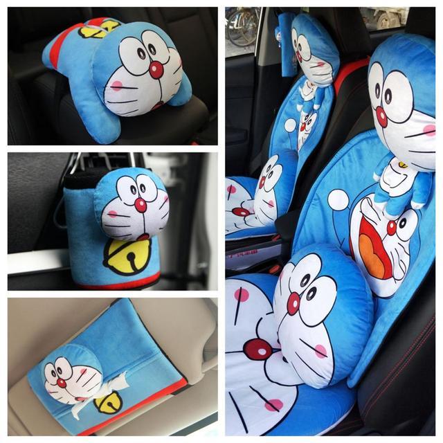 1pc cartoon Doraemon vehicle-mounted plush pillow cushion safety belt cover car receive box paper towel tissue box stuffed toy