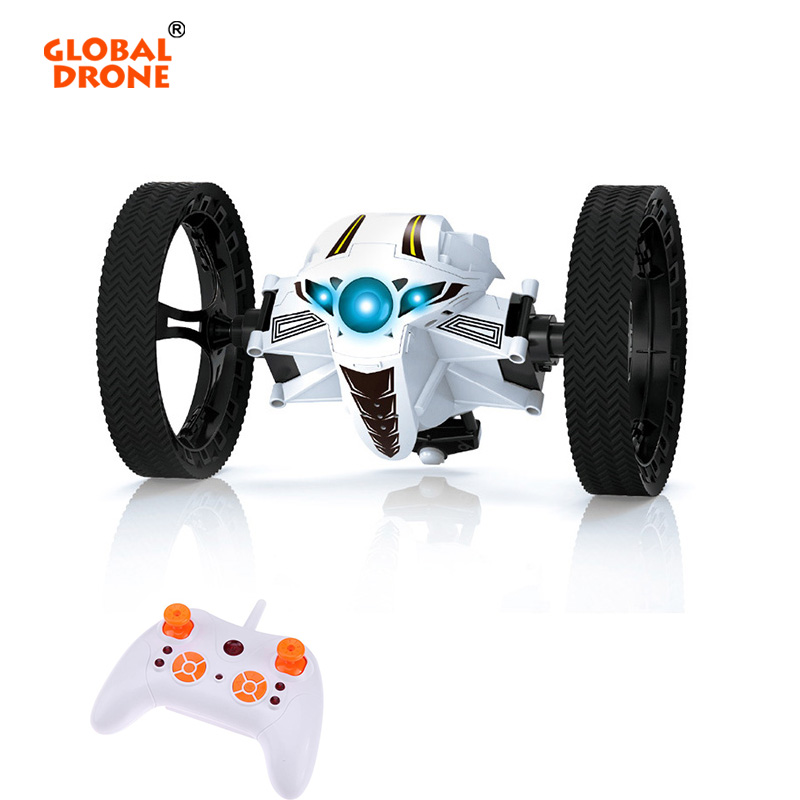 Global Drone Jumping Car Toy 2.4GHz RC Car with Flexible Wheels Rotation LED Light Remote Control Bounce Mini Car Toys for Boys rc car bounce car peg 88 2 4g remote control toys jumping car with flexible wheels rotation led night lights rc robot car gift