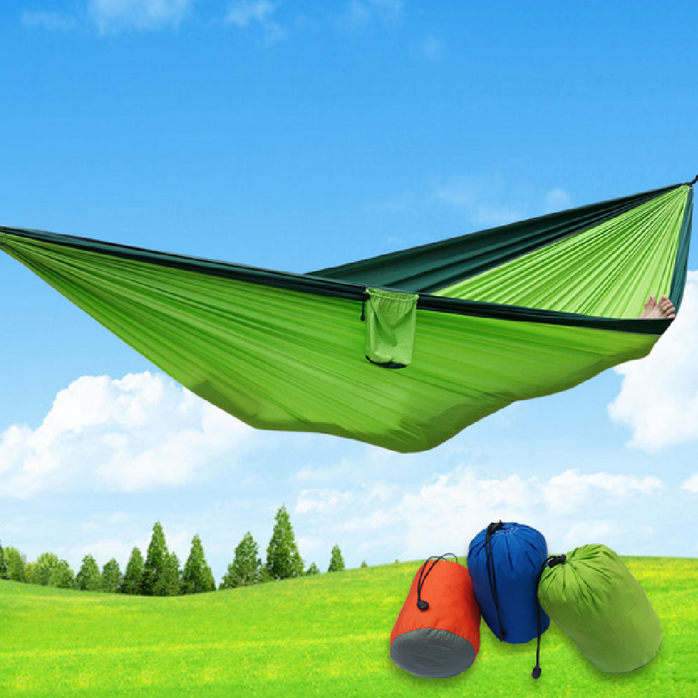 210 x 140 cm 2 People Portable Parachute Hammock Camping Survival Garden Flyknit Hunting Leisure Hamac Travel Double Person Hama 2 people portable parachute hammock outdoor survival camping hammocks garden leisure travel double hanging swing 2 6m 1 4m 3m 2m