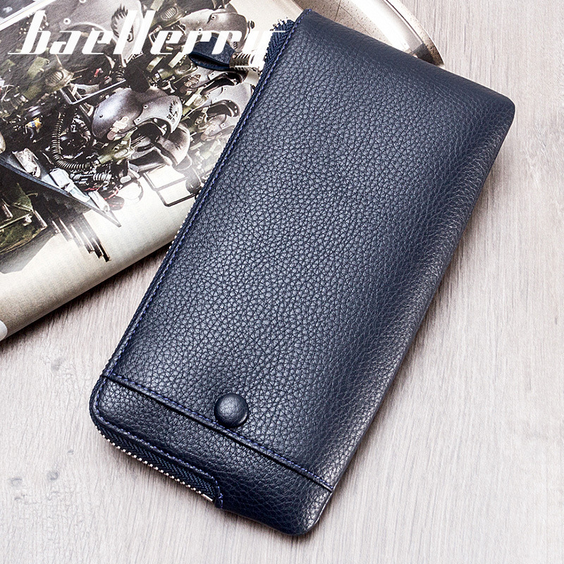 все цены на Brand Baellerry Lichee Pattern Men Slim Long Wallet Money Coin Purse Male Pocket Pochette Clutch Hand Bag Card Holder Case