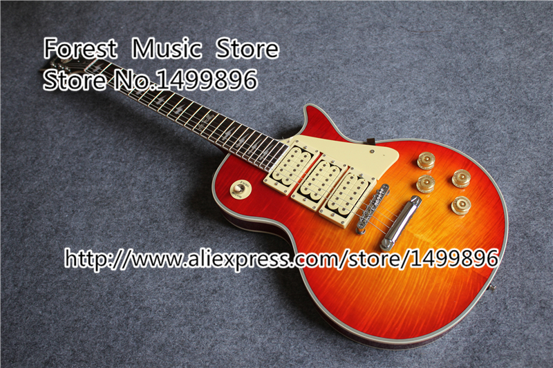 New Arrival Chinese Ace Frehley LP Electric Guitars Cherry Sunburst Tiger Flame Finish Guitar In Stock new arrival matte black finish wolfgang evh electric guitars chinese solid guitar body