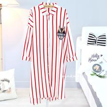 2018 New BUGS Printed Striped Cartoon Nightgown Sleepwear Womens Autumn Pyjamas Big Size Nightdress Nightwear Summer Homewear