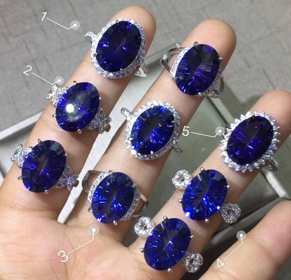 Nouveauté véritable Tanzanite naturelle topaze ovale 10x14mm 925 bague en argent Sterling bijoux de mariage femmes anneaux taille réglable anneaux
