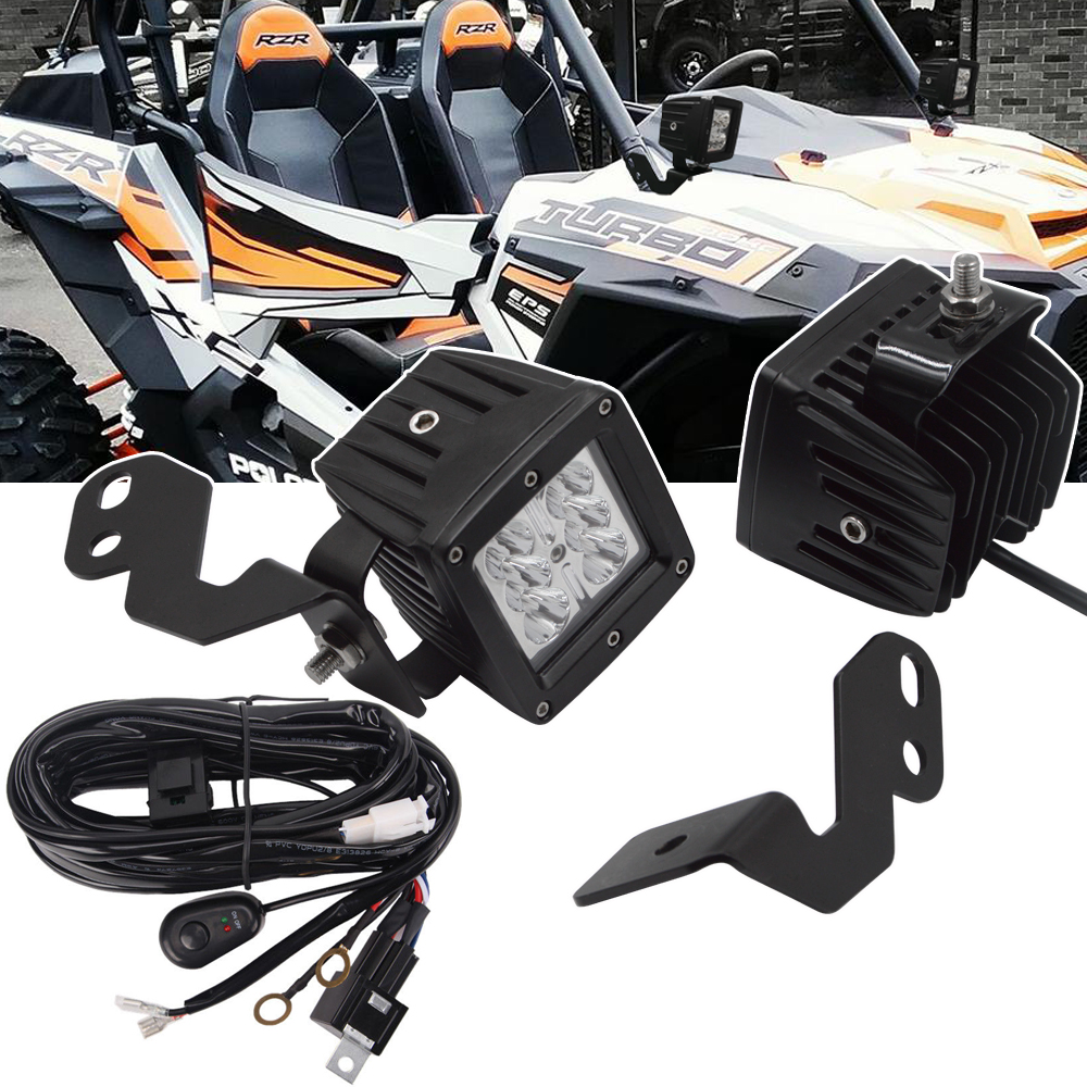 A-Pillar LED Light Pod Brackets, 3 Inch 18W LED Light Cubes, Wiring Kit Fits Polaris RZR 900 1000 Turbo Models