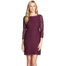 Autumn Winter Elegant Women Classy 3/4 Sleeve Wedding Cocktail Zip Back Knee-Length Full Lace Dress
