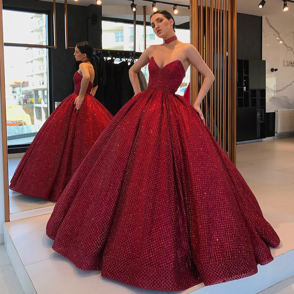 c14b7afdba08 Stunning Long abendkleider Evening Dress 2019 Puffy Ball Gown Sweetheart  Glitter Arabic Style Burgundy Formal Evening Gowns-in Evening Dresses from  Weddings ...