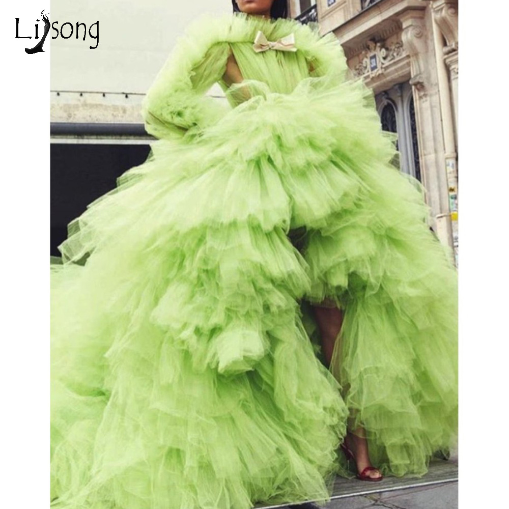 Chic Lemon Green Lush Tutu Evening Dresses Full Sleeves 2019 High Low Long Prom Gowns Ruffles Tiered Tulle Party Dress