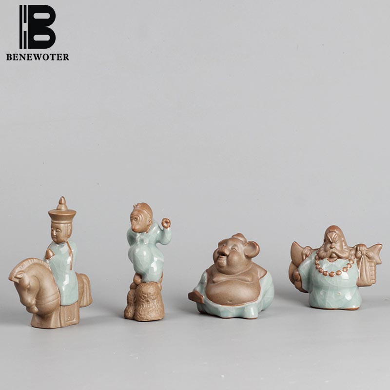 4PCS/LOT BENEWOTER Cerative Boutique Decoration Crafts Ceramic Porcelain Ice Crackle Kiln Journey To The West Tea Pet Ornament