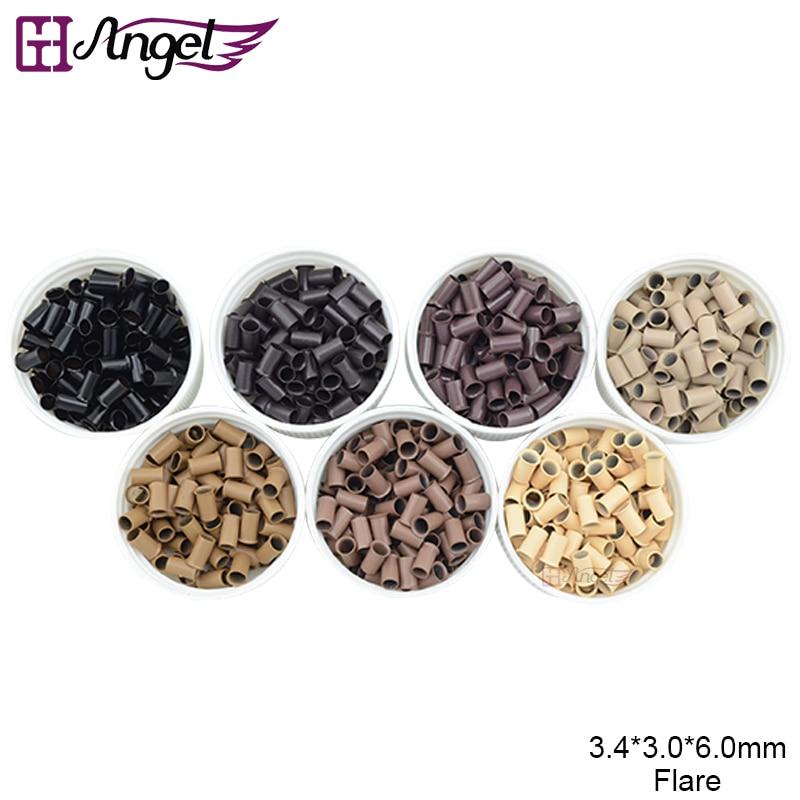 Wholesale 50000pcs 50bottles 3 4 3 6mm Copper Flare Hair Beads Micro Rings Tubes Links for