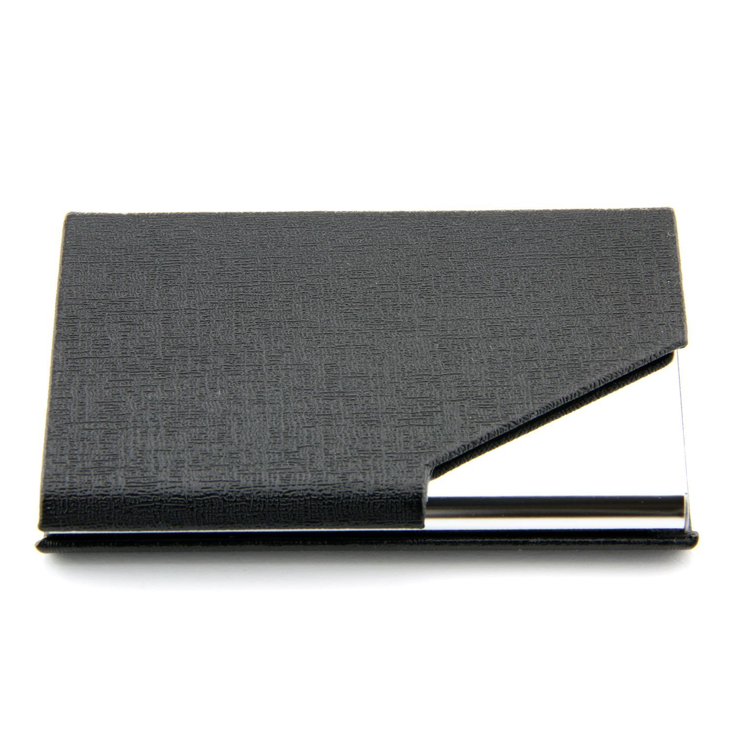 SOSW-PU Leather Business Name Card Holder Credit Card ID Organizer With Magnetic Shut For Office Supplies(Black)
