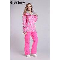 Gsou снег Водонепроницаемый спортивной одежды женский лыжный костюм Для женщин зимняя Лыжная одежда Топ куртка с капюшоном Брюки для девочек