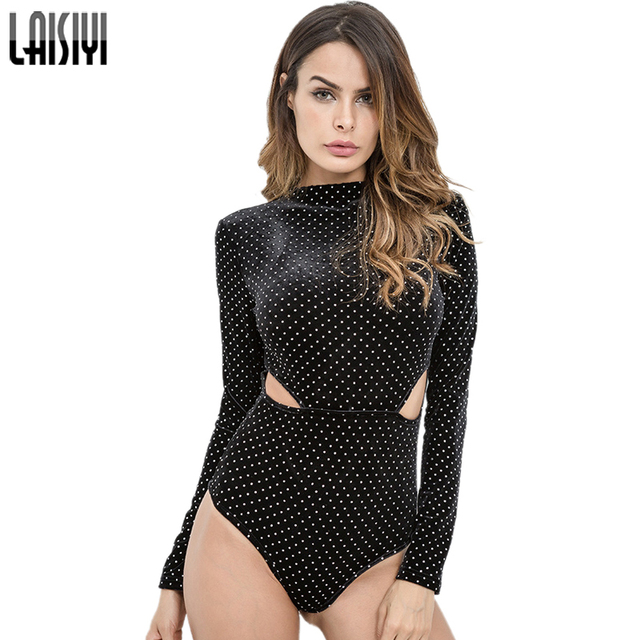 5bb0175fd014 LAISIYI Polka Dots Black Bodysuit Women Long Sleeve Sexy Jumpsuit Fitness  Hollow Out Bodycon Jumpsuit Elegant