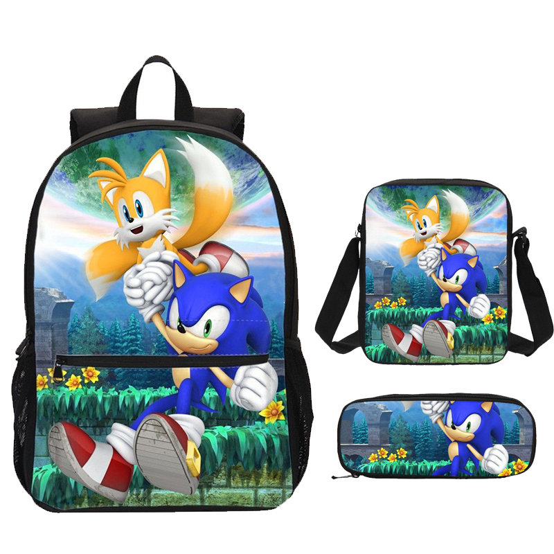 Sonic The Hedgehog Print Children Backpacks For Teenagers Boys School Bags Set Girls Satchel Cartoon Bagpack