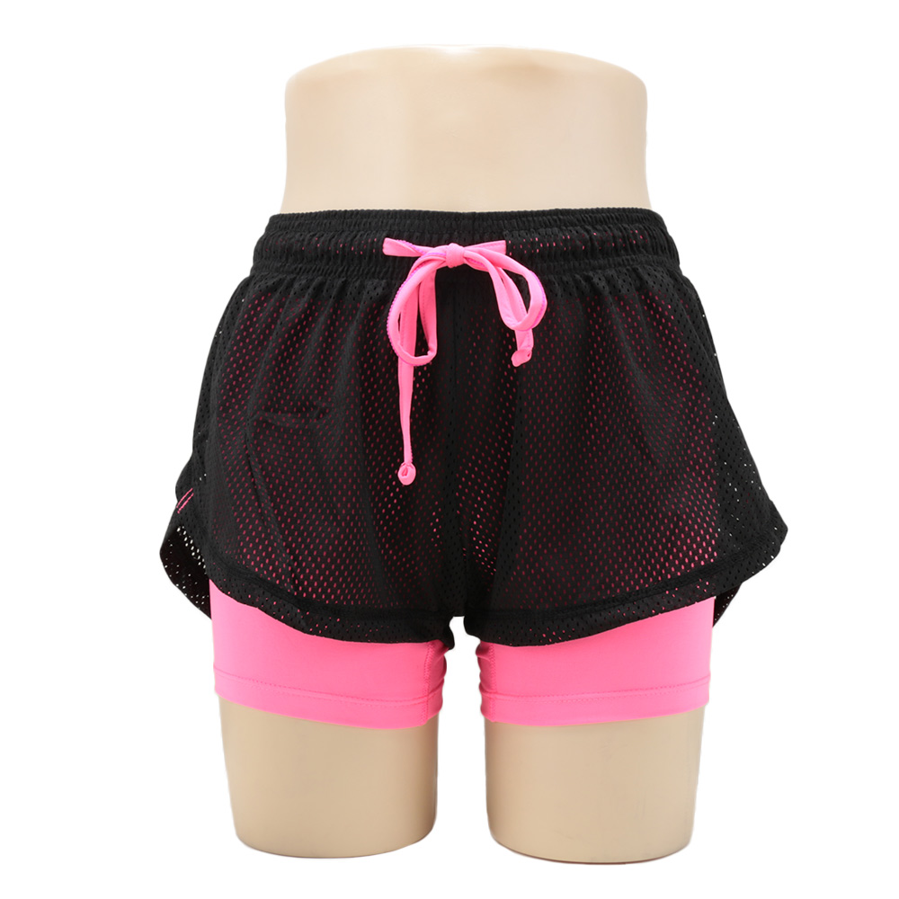 1Pc Fashion Women Shorts Summer Slim Anti Emptied Quick-dry Sports Breathable Shorts Two Layer Fitness Drawstring Shorts