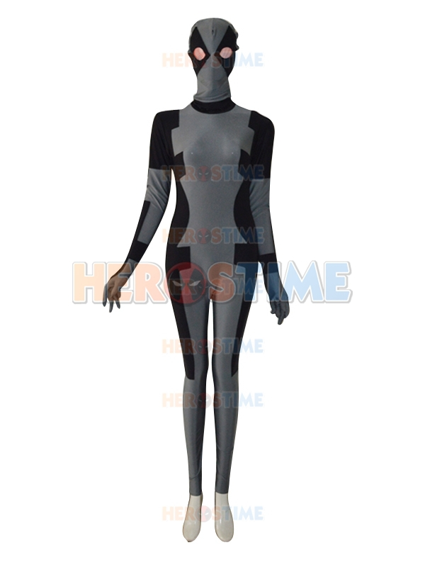 Free shipping Black & Grey Deadpool Costume classic fullbody halloween cosplay party spandex Deadpool Superhero costume hot sale