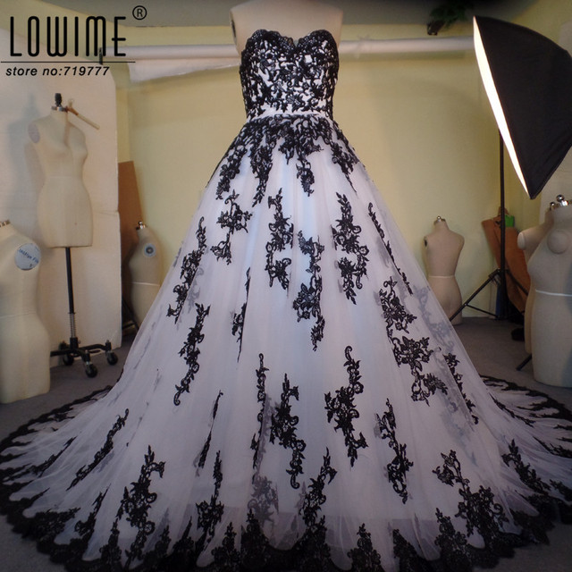 Vestido De Noiva Sweetheart White And Black Wedding Dress Ball ...