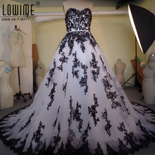 Vestido De Noiva Sweetheart White And Black Wedding Dress Ball Gown Wedding Gowns With Black Lace Appliqued Robe De Mariage