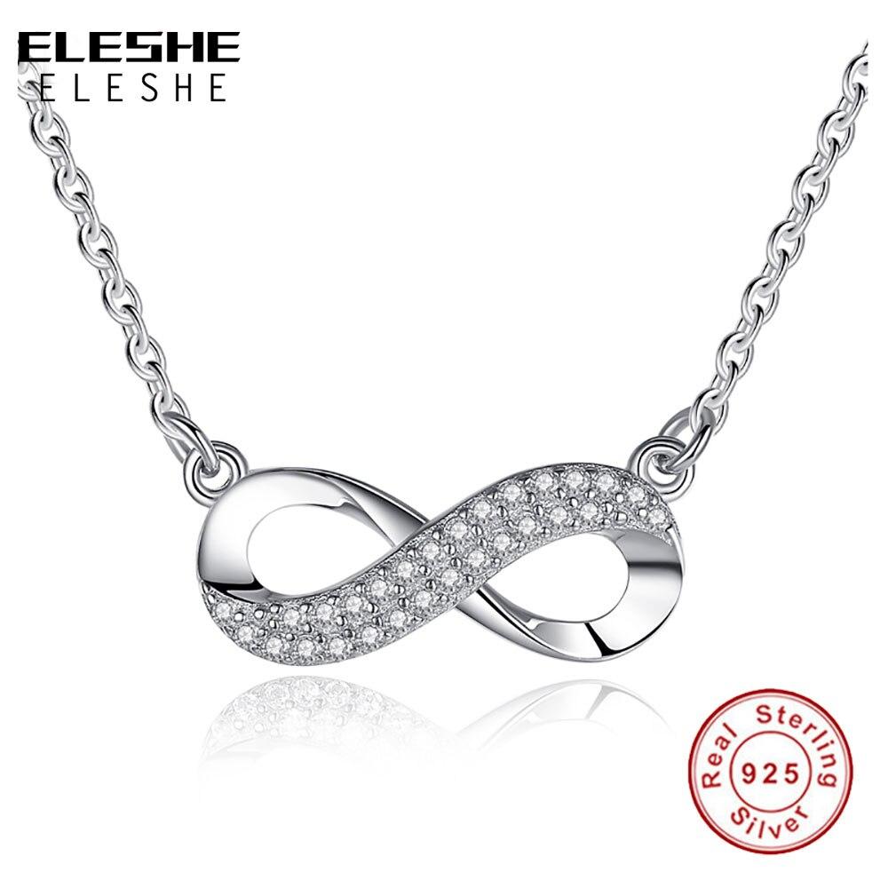 ELESHE 925 Sterling Silber Kristall Unendlichkeit Anhänger Halskette 8 Abbildung Für Immer Link Kette Halskette für Frau Modeschmuck