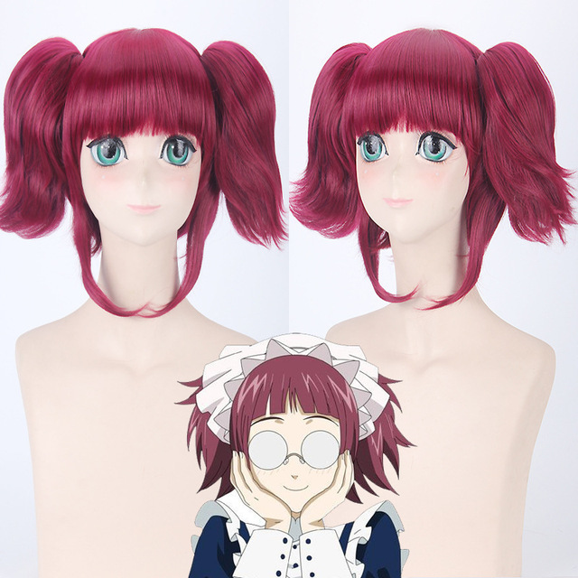 Morematch Black Butler Mey Rin Burgundy Synthetic Hair For FemaleS Party Cosplay Full Wigs With Chip Ponytails