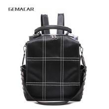 Classic Casual Womens Backpack Retro Style Female Waterproof Rivet Simple Plaid PU Leather Brown Black
