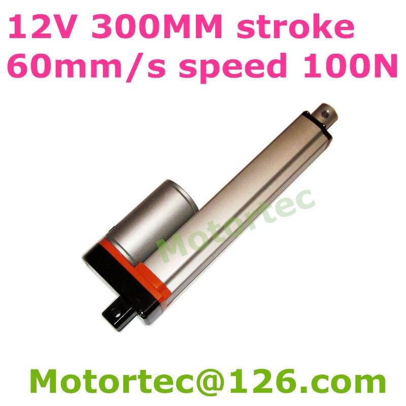 цена на 12V 60mm/s speed 300mm stroke 100N 10KG force Waterproof electric linear actuator