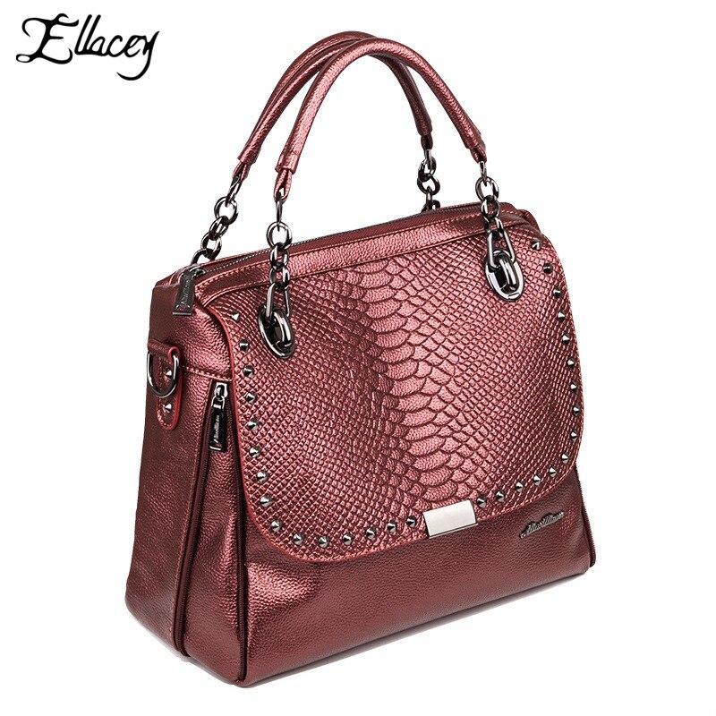 47be6a9d1103 Ellacey Европейский Стиль Женщины сумка из искусственной кожи женские  бордовые o сумки дамы Змеиный Сумочка с заклепками и ремешком-цепочкой