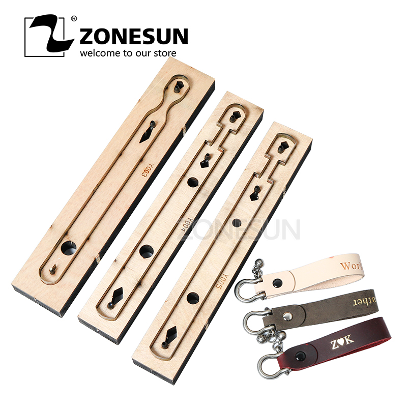 ZONESUN Customized Leather Cutting Die Leather Craft DIY Key Ring Wooden Template Knife Punching Key Chain Cutting Mould Cutter