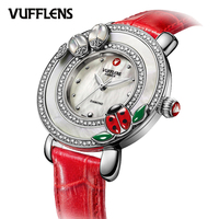 VUFFLENS Аутентичные женские часы ремни модные семь звезд Божья коровка с бриллиантами V223.72