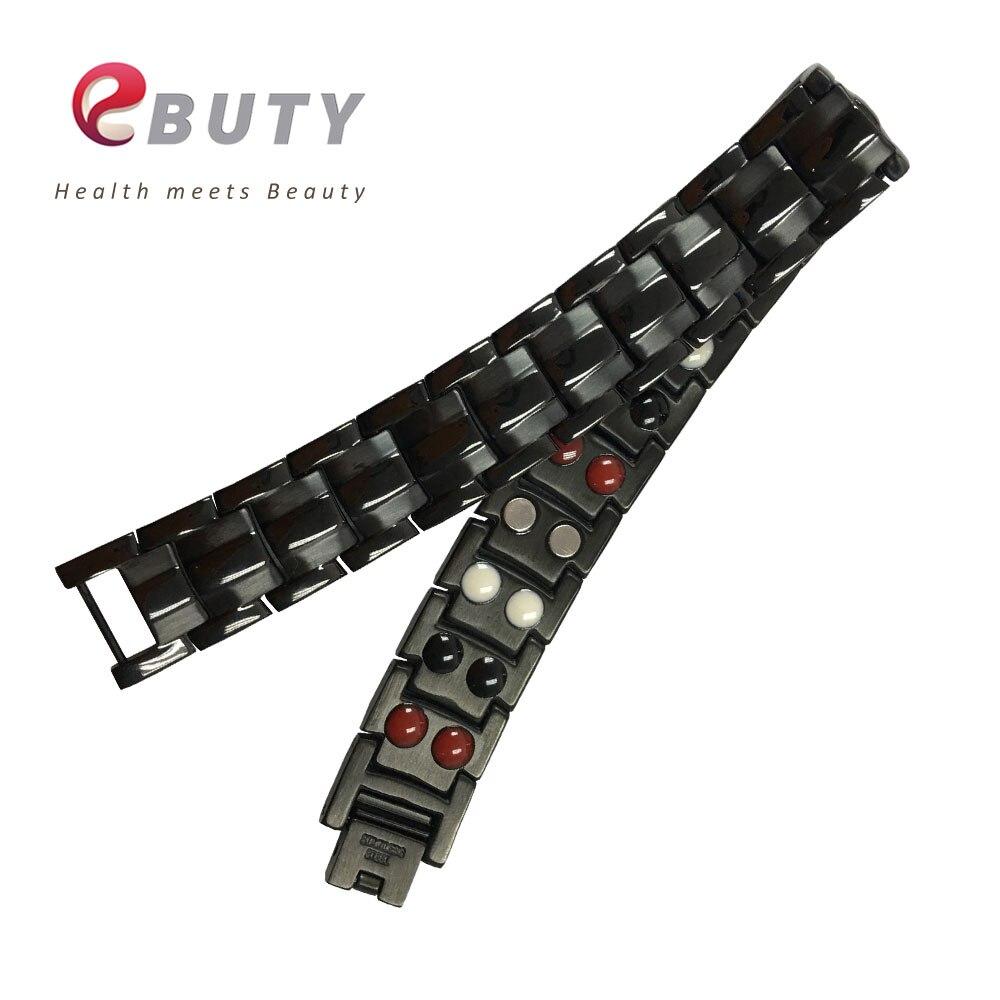 Bracelet en acier inoxydable noir EBUTY pour hommes avec énergie magnétique pierre bijoux de mode bracelets meilleur cadeau Top qualité 10 pièces