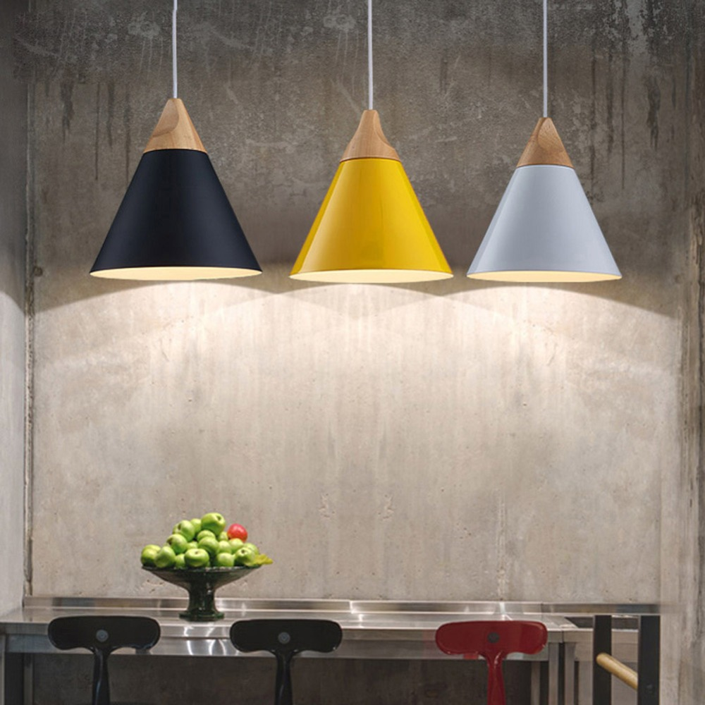 Modern Wood Pendant Lights Lamparas Colorful Aluminum Lamp Shade Luminaire Dining Room For