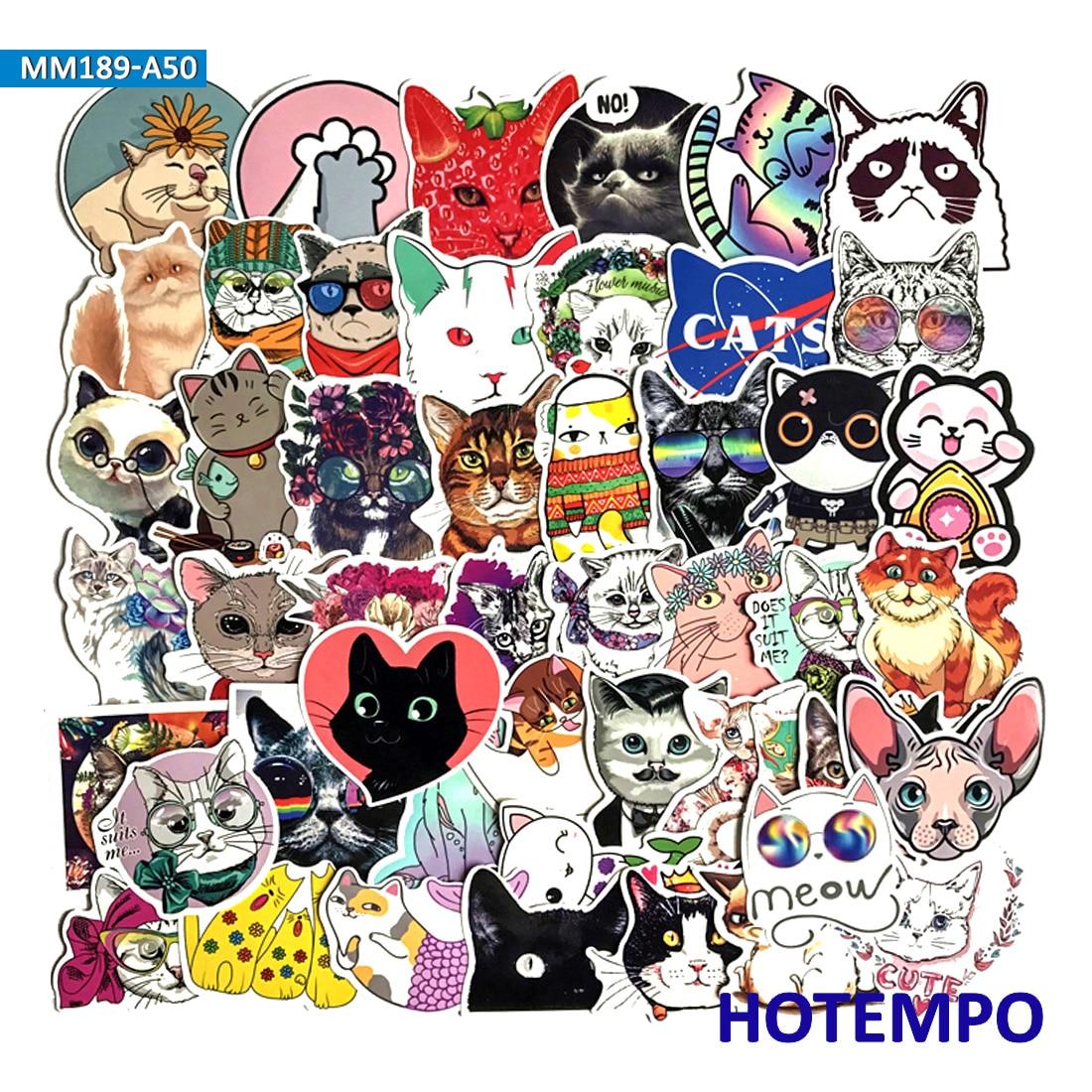 50 Stücke Schöne Cartoon Nette Katzen Emoji Aufkleber Für Diy Handy Laptop Gepäck Koffer Skateboard Wasserdicht Aufkleber Aufkleber StraßEnpreis