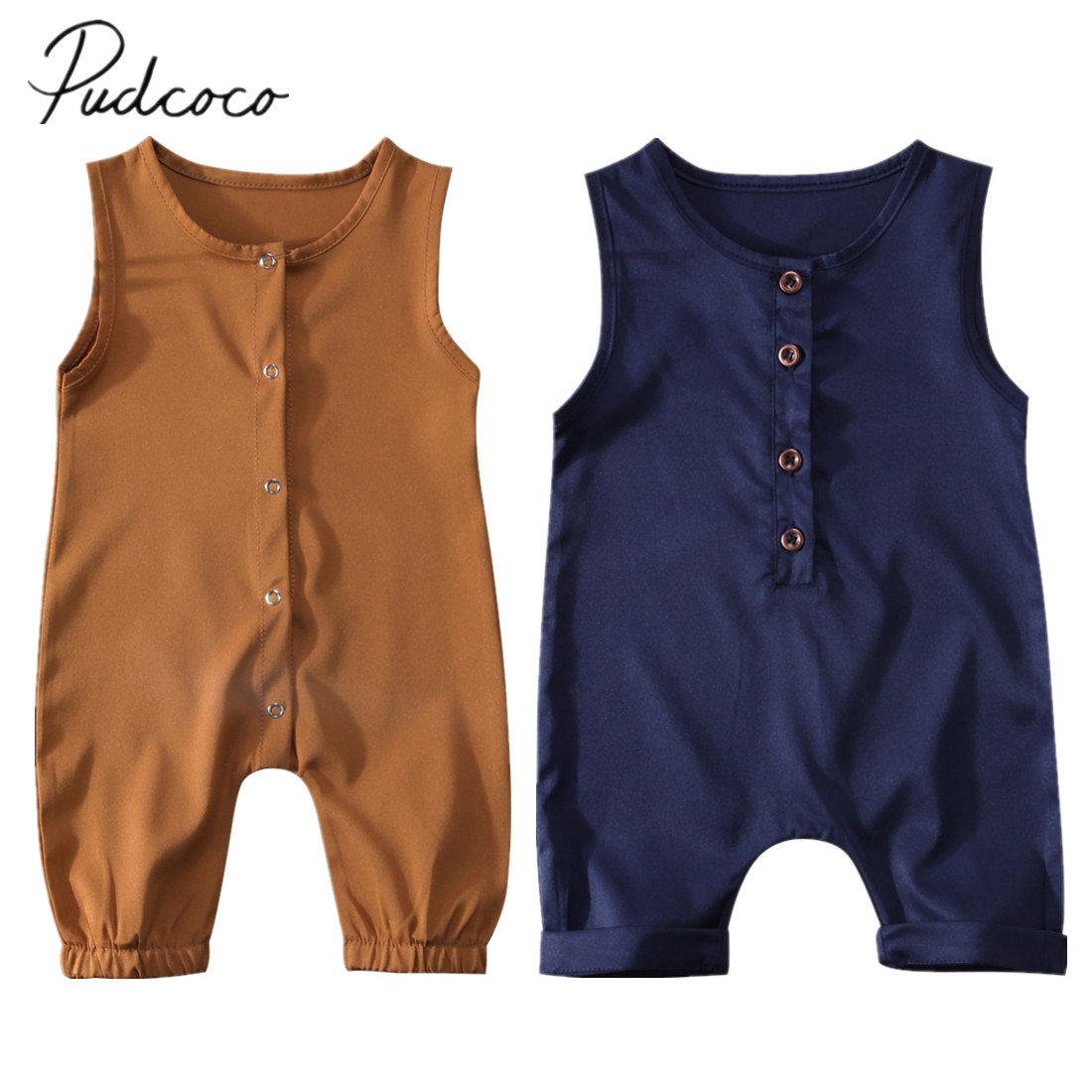 2018 Brand New Toddler Infant Newborn Kids Baby Girls Boys Summer   Romper   Solid Jumpsuit Sleeveless Clothes Brief Outfits