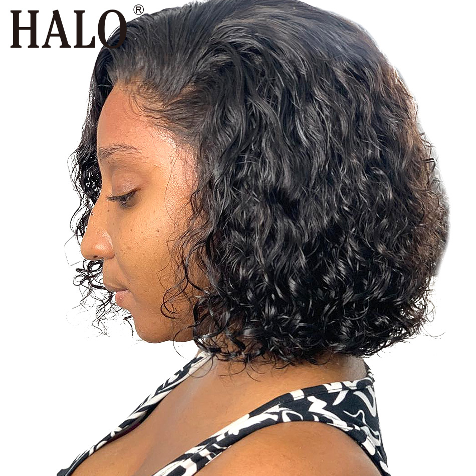 Deep Wave Lace Front Human Hair Short Bob Wigs Pre Plucked Brazilian Remy 613 Kinky Curly