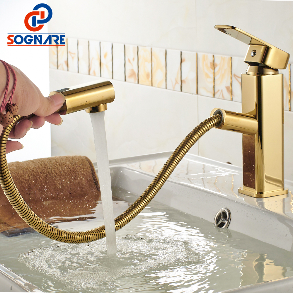 SOGNARE Pull Out Basin Faucets Golden Finish Cold and Hot Bathroom Sink Faucet Solid Brass Single Handle Basin Mixer Tap,Crane matte black faucet hole cold and hot water basin faucet basin sink mixer tap brass made single handle single basin crane al 7808
