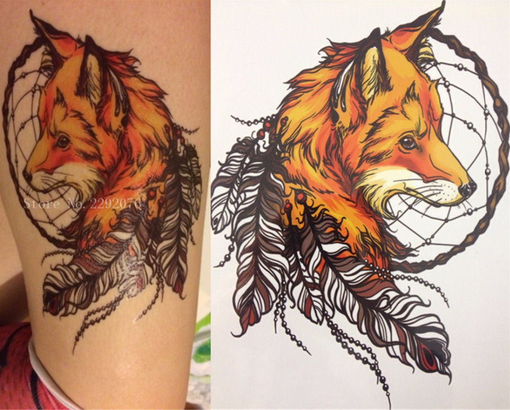 2017 set 1-2-3 CM Yellow Fox and Feather Cool Beauty Tattoo Waterproof Hot Temporary Tattoo Stickers