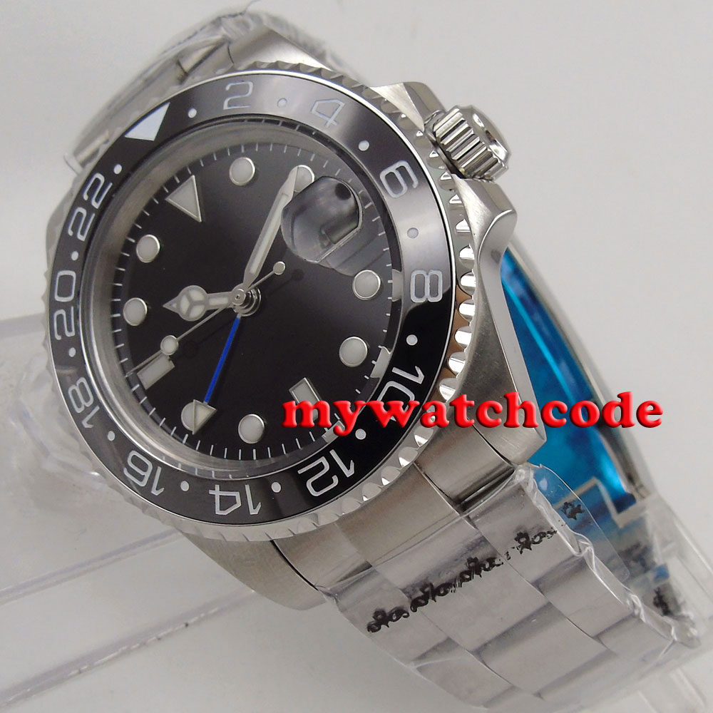 лучшая цена 40mm Bliger black dial ceramic blue GMT sapphire glass automatic mens watch B177