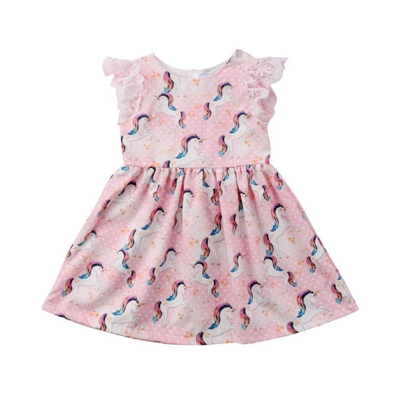 Summer Girls Dresses Baby Girls Cartoon Dinosaur Printed Summer Dress for Girls Cute Animals Stripes Girl Sweat Dress in Dresses from Mother Kids