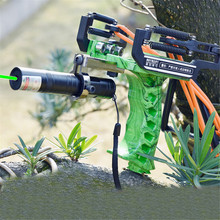 Green/Red Laser Slingshot Black Red Hunting Bow Fishing Outdoor Powerful Catapult Shooting Caza
