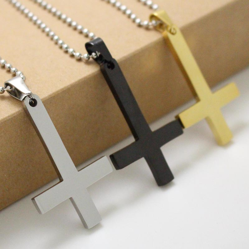 316l stainless steel inverted cross of st peter pendant necklace 316l stainless steel inverted cross of st peter pendant necklace lucifer satan satanism jewelry fashion punk aloadofball Images