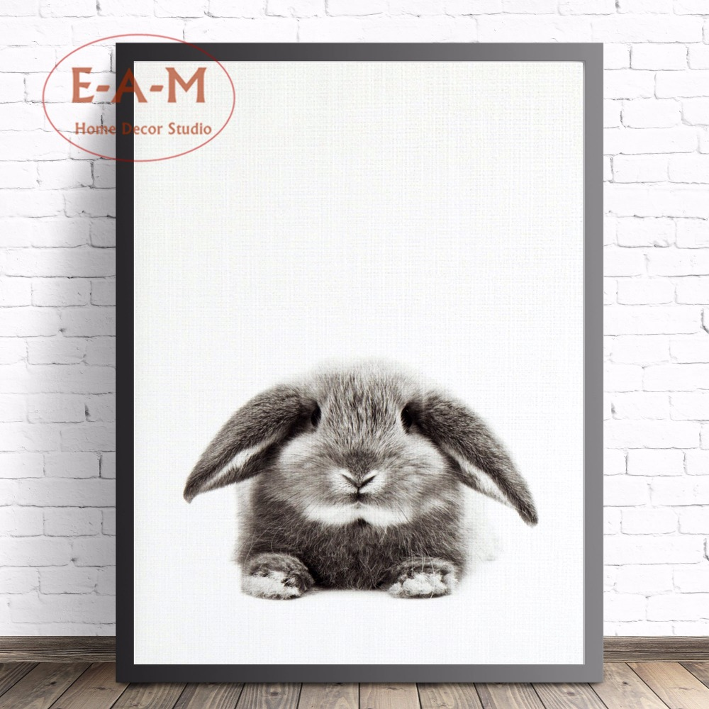 Black and White Funny Animal Canvas Art Print Painting Poster Wall ...