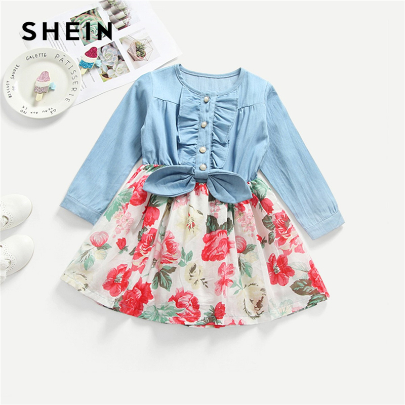 SHEIN Kiddie Frill Trim Floral Print Pearls Knot Casual Toddler Girls Dress 2019 Spring Long Sleeve Girl Party Kids Dresses girls floral lace insert swing dress