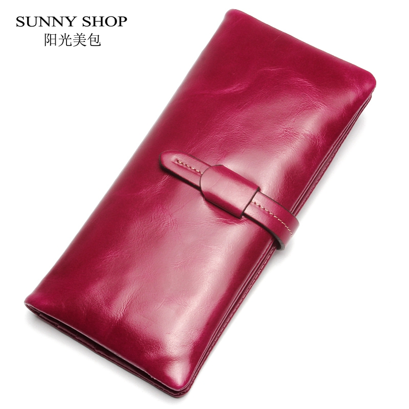 ФОТО SUNNY SHOP High Quality Women Genuine Leather Wallet Long Design Purse Fashion Real Leather Lady Wallet BOX PACKED Best Gifts