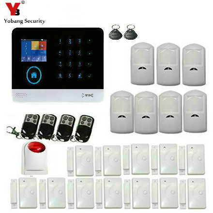 YobangSecurity Android IOS APP 433Mhz Sensor Dual-network Wifi GSM Sim Call+Touch Keypad Home Security Voice Burglar Alarm