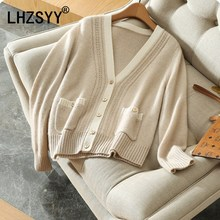 LHZSYY 2018 Spring Autumn New Women's Cashmere Cardigan V-Neck Loose spell Color Fashion Jacket Wool Knit Cardigan Shirt Short